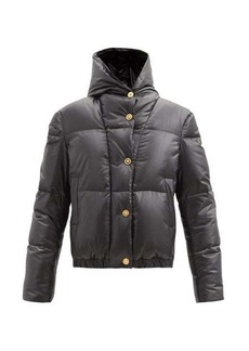 Versace Logo-embroidered hooded down quilted coat