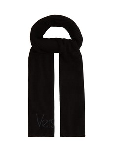 Versace Logo-embroidered ribbed-knit wool scarf