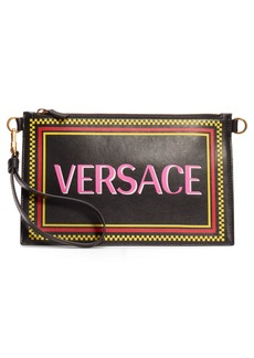 Versace Logo Leather Zip Pouch