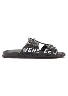 Versace Logo-print chain-embellished leather sandals