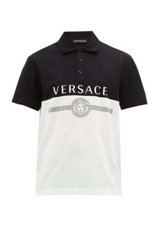 Versace Logo-print cotton-pique polo shirt