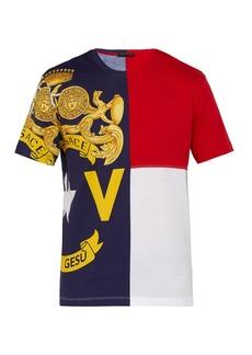 b0a38215 Versace Versace Archive-print football V-neck T-shirt   T Shirts
