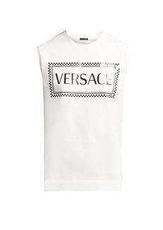 Versace Logo-printed cotton tank top