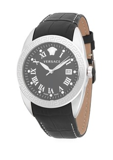 Versace Logo Stainless Steel and Embossed Leather-Strap Watch