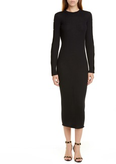 Versace Long Sleeve Wool Rib Midi Sweater Dress