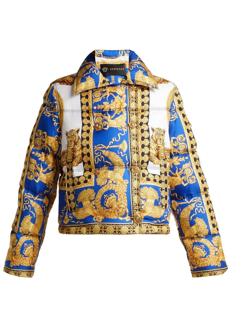 Versace Lovers Baroque-print quilted-down jacket