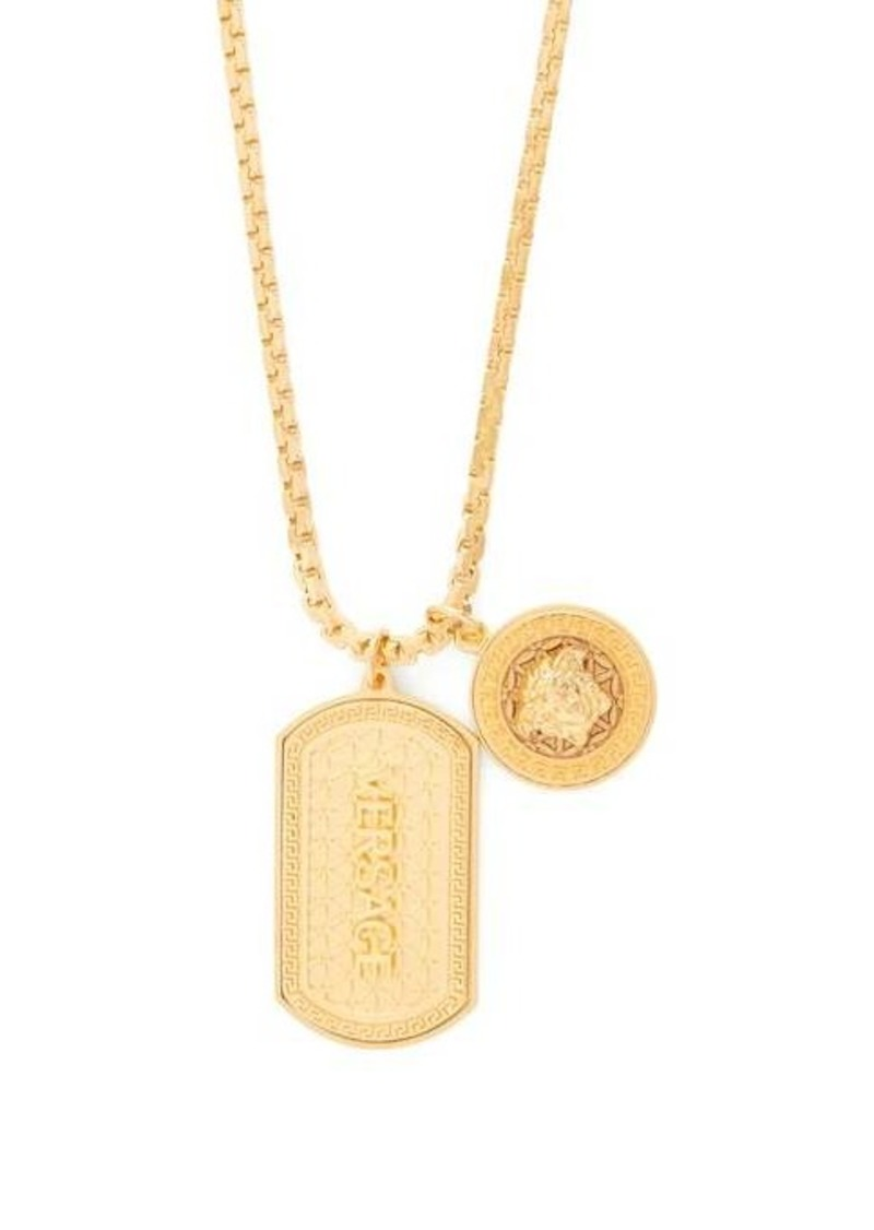 Versace Medusa and dog tag charm necklace