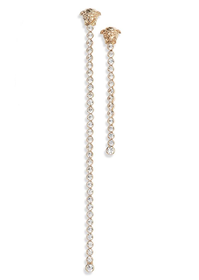 Versace Medusa Asymmetrical Crystal Linear Drop Earrings
