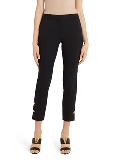 Versace Medusa Button Detail Stretch Wool Crop Pants