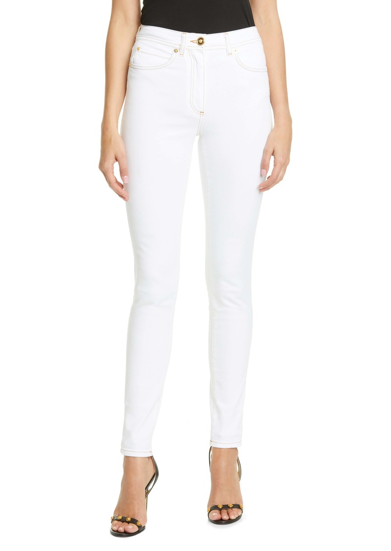 Versace Medusa Button High Waist Skinny Jeans
