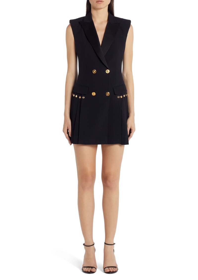 Versace Medusa Button Pleated Minidress