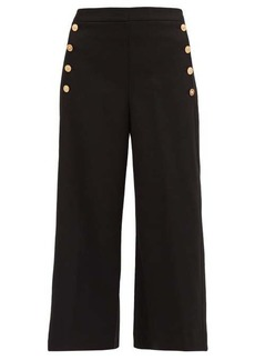 Versace Medusa-button wide-leg wool-blend trousers