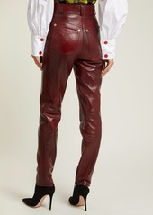 Versace Medusa-buttoned leather trousers