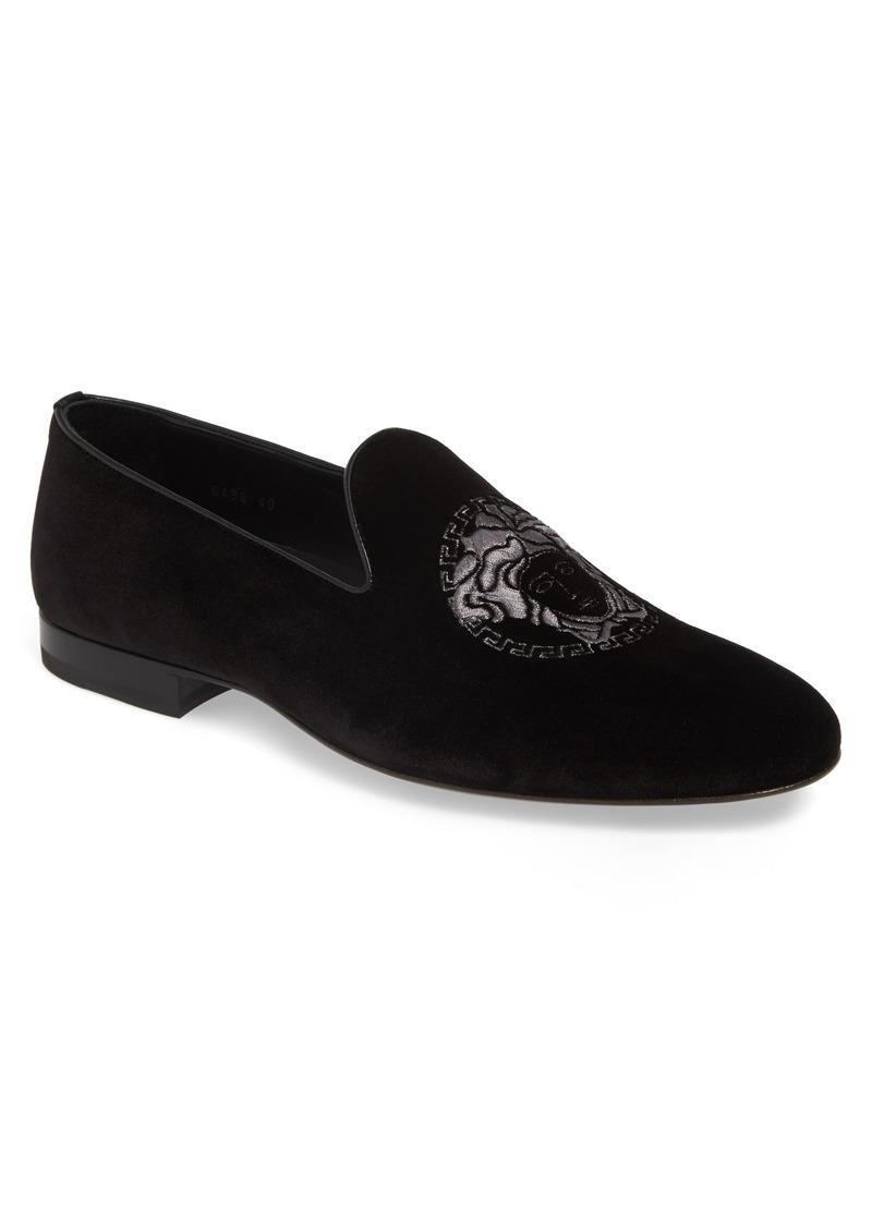 fc3b3f531e Versace Versace Medusa Embroidered Velvet Loafer (Men) | Shoes