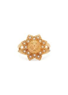 Versace Medusa-head and flower crystal ring