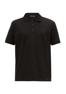 Versace Medusa head-embroidered cotton-piqué polo shirt