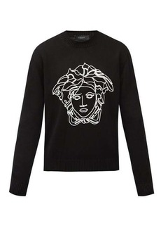 Versace Medusa head-embroidered wool sweater