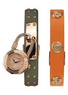 Versace Medusa Lock Icon Leather Strap Watch, 22mm