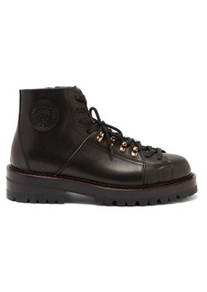 Versace Medusa-patch leather hiking boots