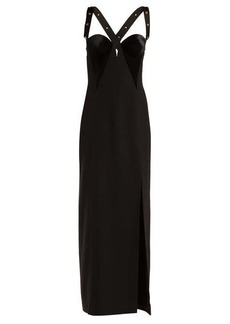 Versace Medusa-stud velvet and satin gown