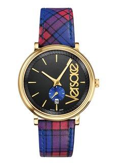 Versace Men's Circle The Clans Gold IP Watch w/ Tartan Strap