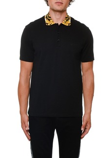 Versace Men's Contrast-Collar Pique Polo Shirt
