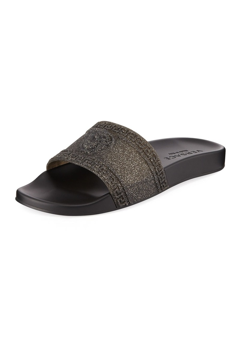 692d2cae72663 SALE! Versace Versace Men s Glitter Shower Slide Sandals