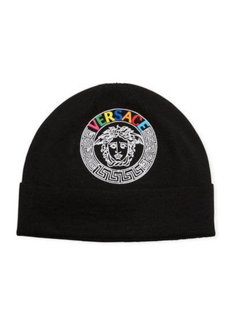 Versace Men's Rainbow Logo Knit Beanie Hat