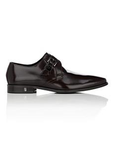 Versace Men's Spazzolato Leather Monk-Strap Shoes