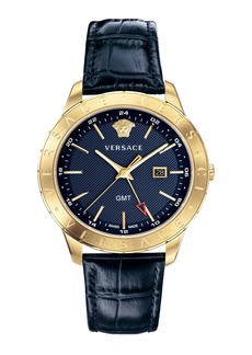 Versace Men's Univers 43mm Watch w/ Leather Strap  Blue/Champagne