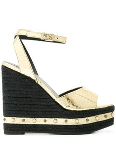 Versace metallic wedge sandals