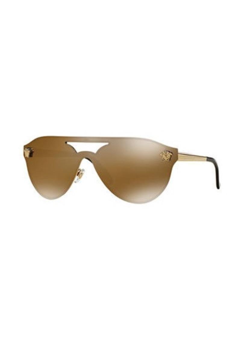 0ee4306deb0 Versace Mirrored Shield Brow-Bar Sunglasses