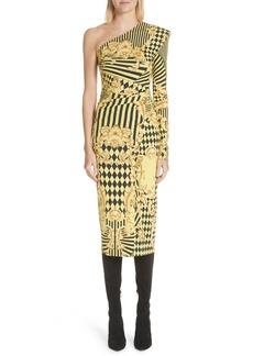Versace Mixed Print One Shoulder Dress