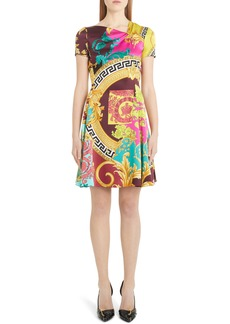 Versace Mixed Print Silk Minidress