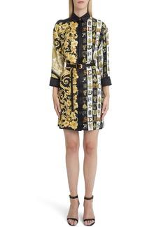 Versace Mixed Print Silk Shirtdress