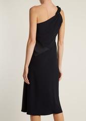 Versace One-shoulder contrast-panel dress