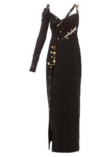 Versace One-sleeve safety-pin crepe gown