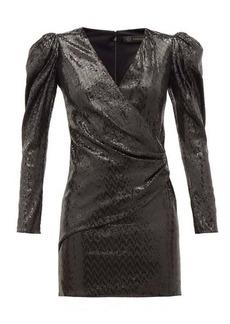 Versace Padded-shoulder sequinned mini dress