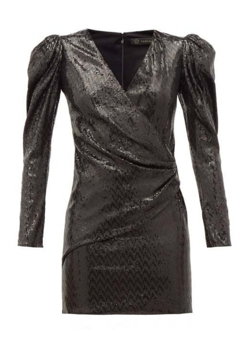 Versace Padded-shoulder sequinned mini dress