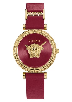 Versace Palazzo Empire Greca Leather Strap Watch, 37mm