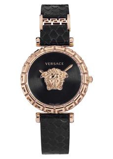 Versace Palazzo Empire Greca Snakeskin Strap Watch, 37mm