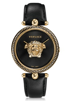 Versace Palazzo Empire Leather Strap Watch, 39mm