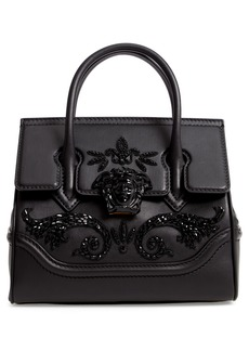 Versace Palazzo Empire Medium Crystal Embellished Leather Satchel