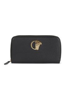 Versace Pebble Leather Zip-Around Wallet