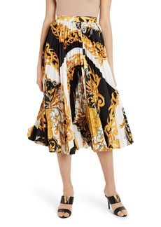 Versace Pleated Barocco Acanthus Print Midi Skirt