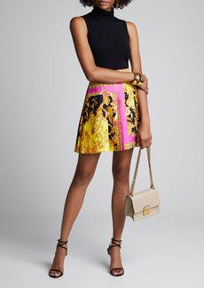 Versace Pleated Barocco Print Silk Skirt