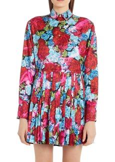 Versace Pleated Floral Print Long Sleeve Mini Shirtdress