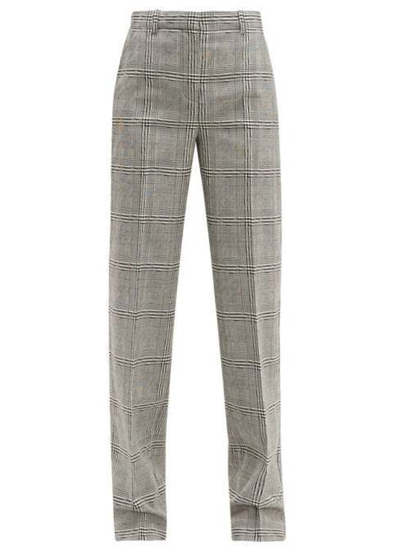 Versace Prince of Wales-check wool straight-leg trousers