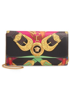 Versace Print Leather Wallet on a Chain