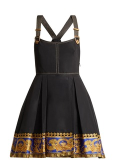 Versace Printed-hem pinafore dress